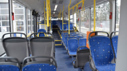 MAN Lion's City LE Linienbus Innenraum mit blauen Sitzen - Musshoff Touristik Lippstadt